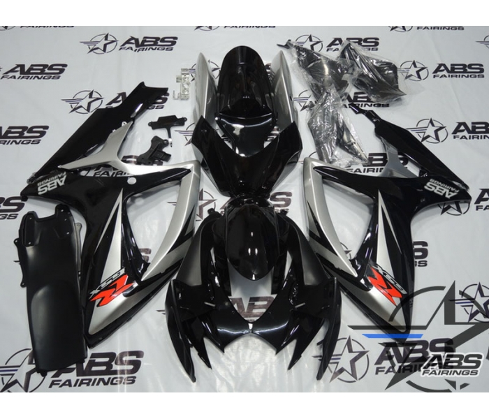 ABS Fairings Black & Silver - 06-07' GSXR 600/750