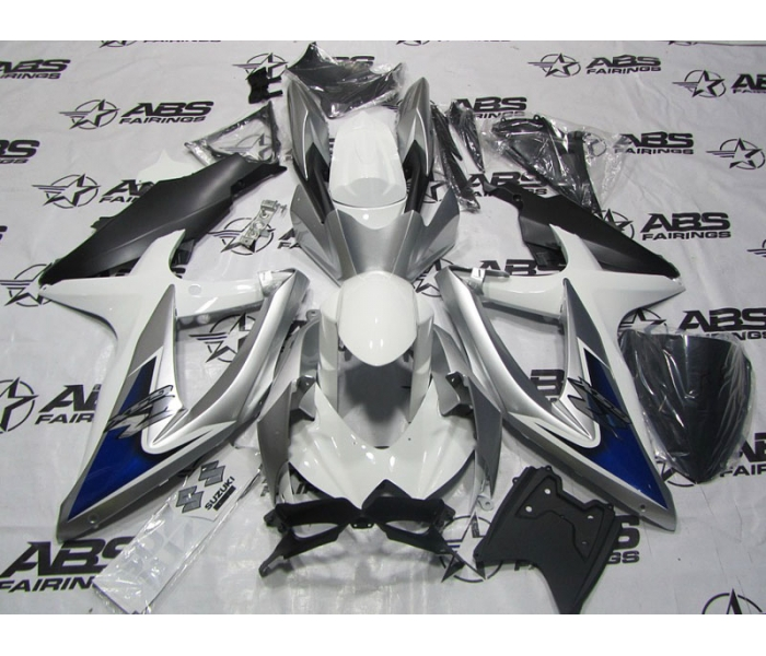 ABS Fairings Blue, White & Silver - 08-10' GSXR 600/750