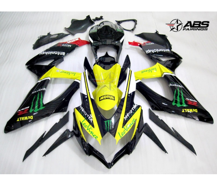 ABS Fairings Leo Vince Monster Energy 30pc Fairing Set - Suzuki GSXR 600/750 2008-2010