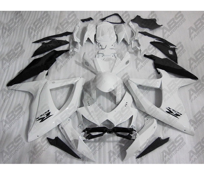 ABS Fairings Black & White - 08-10' GSXR 600/750