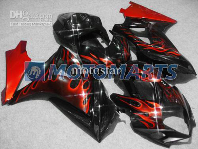 Red Flame ABS Fairing Set K7 - Suzuki GSXR1000 2007-2008