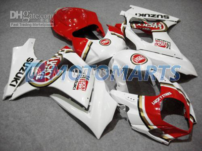 Red Lucky Strike ABS Fairing Set K7 - Suzuki GSXR1000 2007-2008