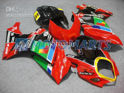 Green/Red ABS Fairing Set K7 - Suzuki GSXR1000 2007-2008