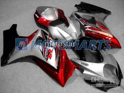 Red/Silver ABS Fairing Set K7 - Suzuki GSXR1000 2007-2008