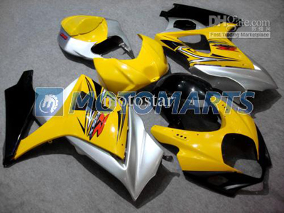 Yellow/Silver ABS Fairing Set K7 - Suzuki GSXR1000 2007-2008