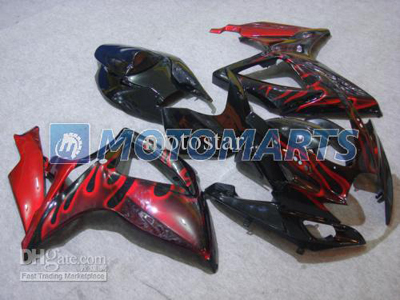 Red Flame ABS Fairing Set K6 - GSXR600/750 2006-2007