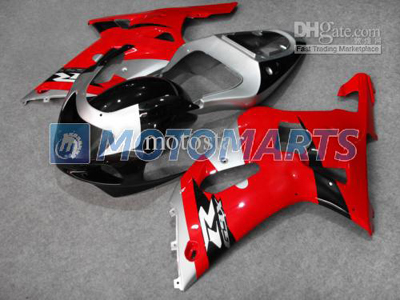 Red/Silver/Black ABS Fairing Set K1 - Suzuki GSXR600/750 2001-2003