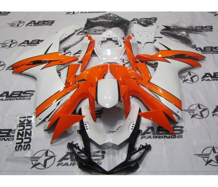 ABS Fairings Pearl White & Orange - 11-13' GSXR 600/750