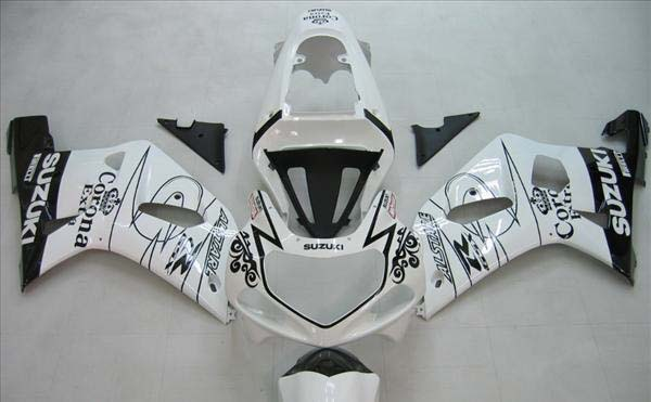 White Corona Fairing Set 9pc - Suzuki GSXR 600 2001-2003