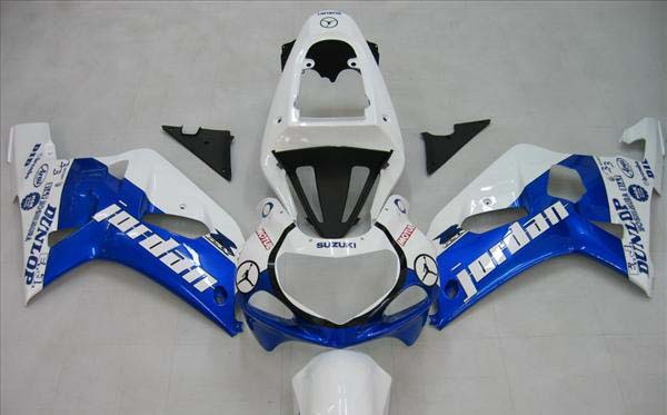 White/Blue Jordan Fairing Set 9pc - Suzuki GSXR 600 2001-2003