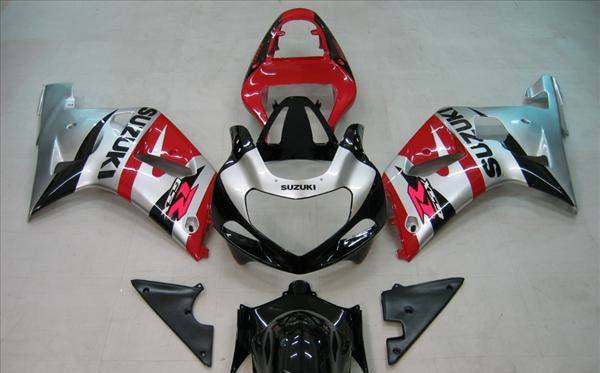 Silver/Red/Black Fairing Set 9pc - Suzuki GSXR 600 2001-2003