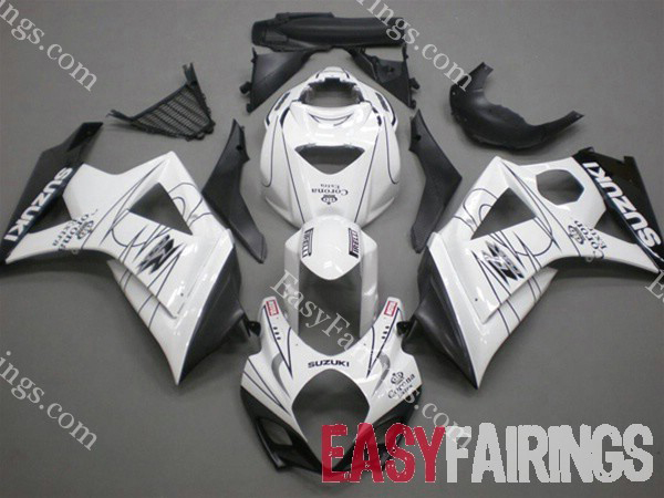 White Corona Fairing Set 24pc - Suzuki GSXR 1000 2007-2008