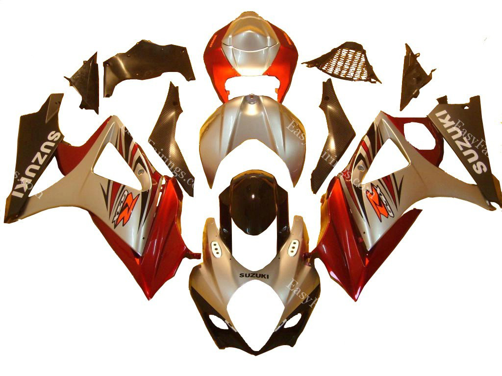 Silver/Red/Black Fairing Set 24pc - Suzuki GSXR 1000 2007-2008