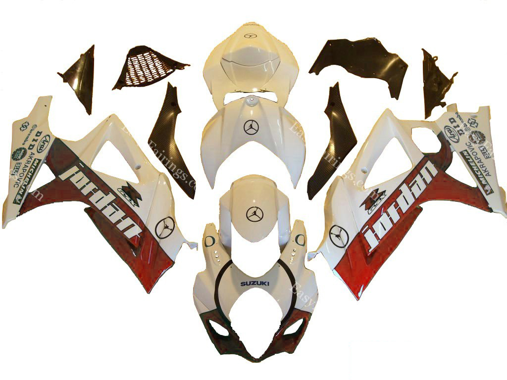 Red Jordan Fairing Set 24pc - Suzuki GSXR 1000 2007-2008
