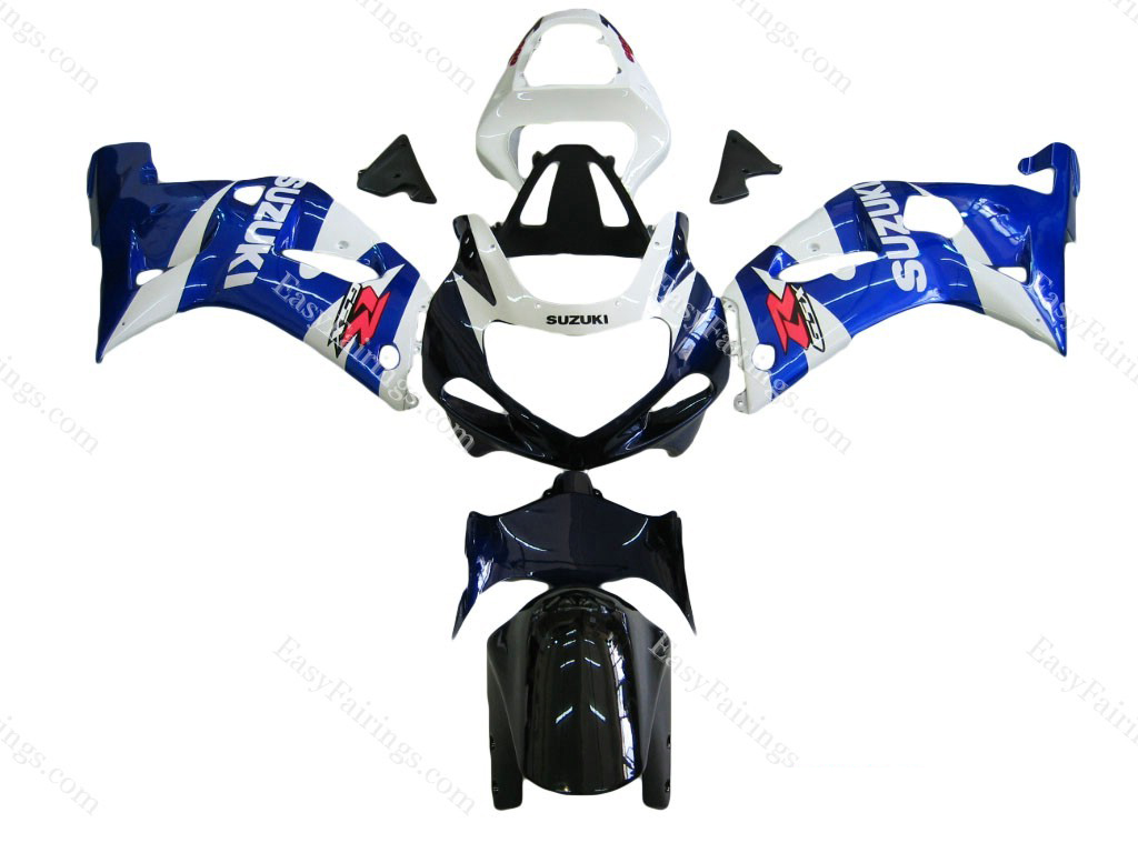 White/Blue Fairing Set 9pc - Suzuki GSXR 600/750 2000-2003