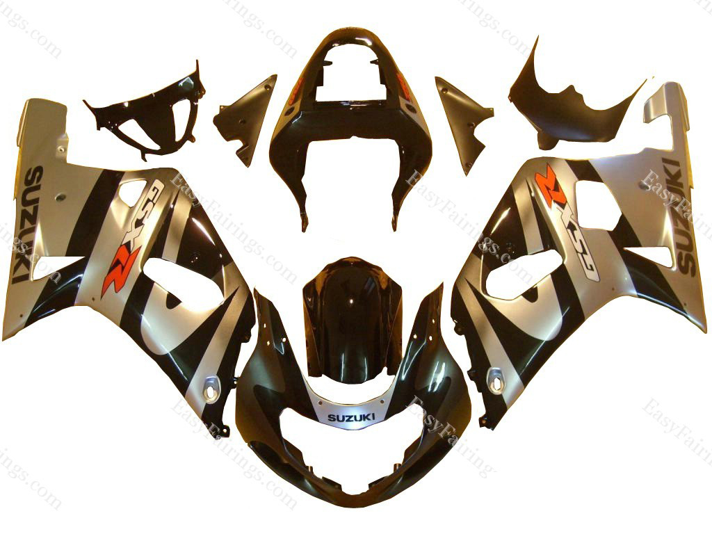Silver/Black Fairing Set 9pc - Suzuki GSXR 600/750 2000-2003