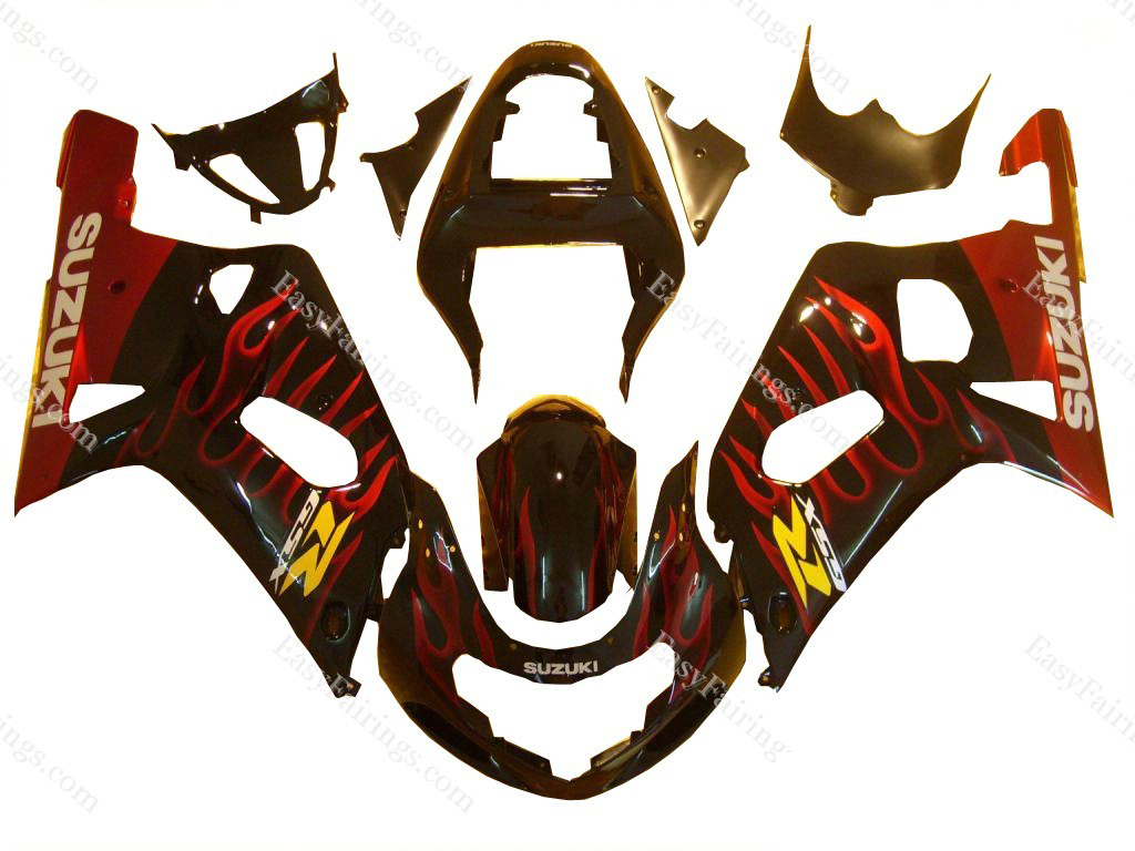 Red Flames Fairing Set 9pc - Suzuki GSXR 600/750 2000-2003