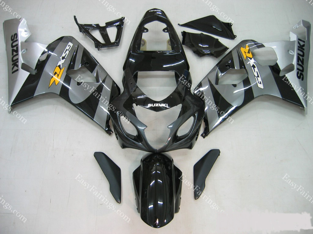 Black/Silver Fairing Set 10pc - Suzuki GSXR 600/750 2004-2005