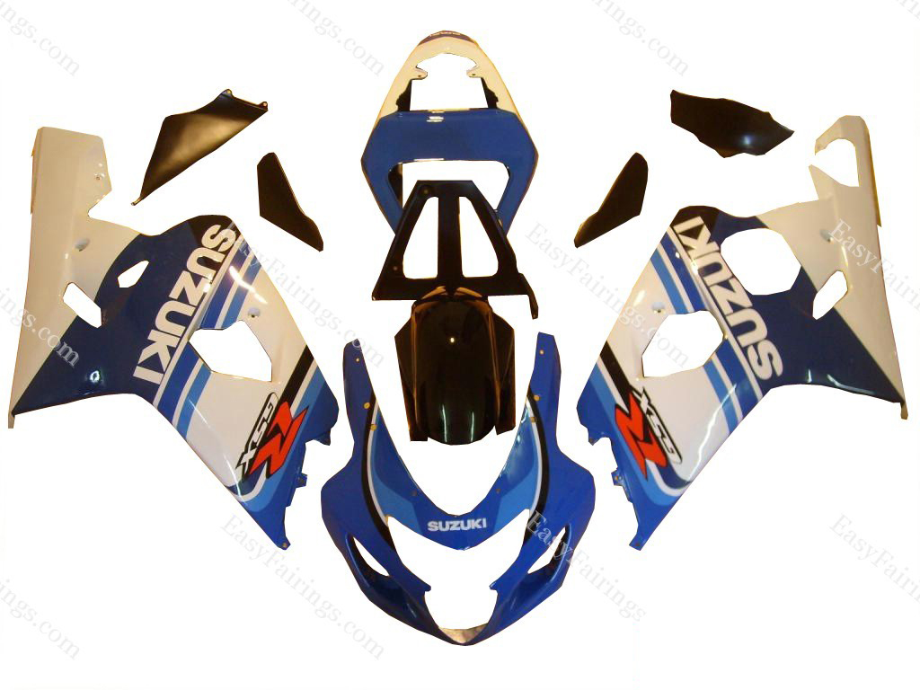White/Blue Fairing Set 10pc - Suzuki GSXR 600/750 2004-2005