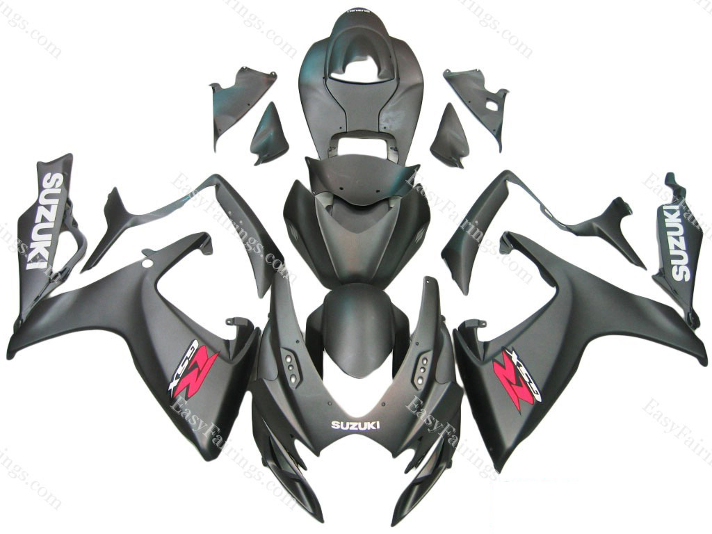 Flat Black Fairing Set 23pc - Suzuki GSXR 600/750 2006-2007