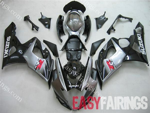 Silver/Black Fairing Set 23pc - Suzuki GSXR 600/750 2006-2007