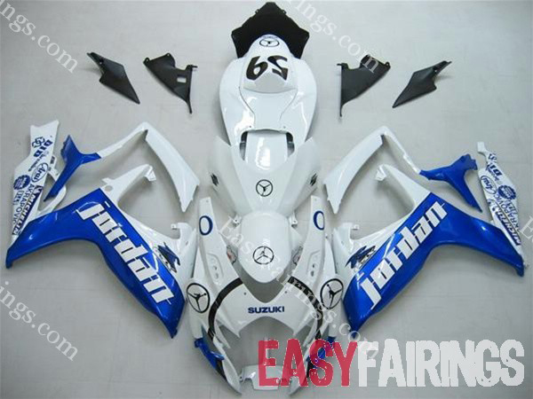 Blue/White Jordan Fairing Set 23pc - Suzuki GSXR 600/750 2006-2007