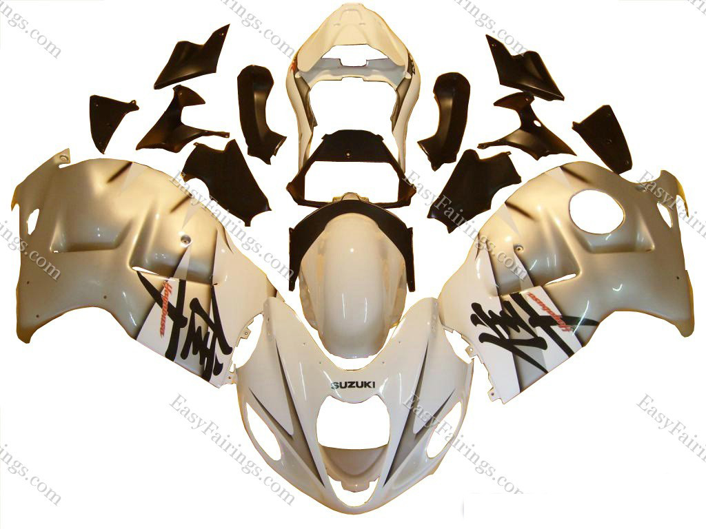 Silver/White/Black Fairing Set 18pc - Suzuki GSXR 1300 Hayabusa 1999-2007
