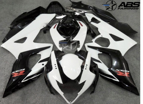 ABS Fairings Black & White 21pc Fairing Set - Suzuki GSXR1000 2005-2006