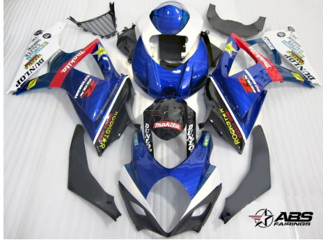 ABS Fairings Blue Rockstar Makita 25pc Fairing Set - Suzuki GSXR1000 2007-2008