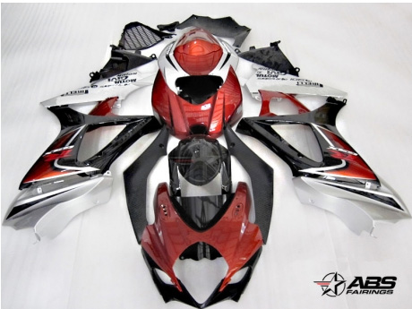 ABS Fairings Deep Red & Silver 25pc Fairing Set - Suzuki GSXR1000 2007-2008