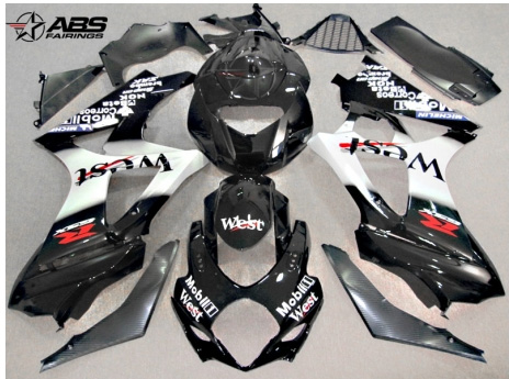 ABS Fairings West 25pc Fairing Set - Suzuki GSXR1000 2007-2008