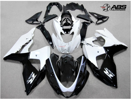ABS Fairings Black & White 30pc Fairing Set - Suzuki GSXR1000 2009-2013