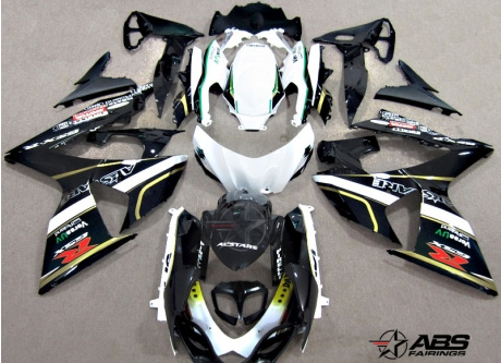 ABS Fairings Black & White Alstare 30pc Fairing Set - Suzuki GSXR1000 2009-2013