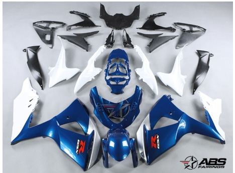 ABS Fairings Blue & White 30pc Fairing Set - Suzuki GSXR1000 2009-2013