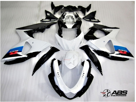 ABS Fairings OEM Style White & Black 30pc Fairing Set - Suzuki GSXR1000 2009-2013