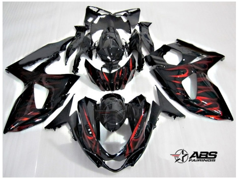 ABS Fairings Red Flames 30pc Fairing Set - Suzuki GSXR1000 2009-2013