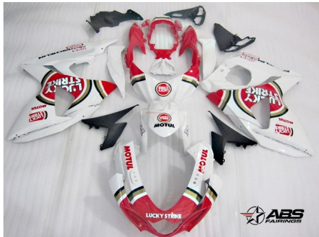 ABS Fairings Red Lucky Strike 30pc Fairing Set - Suzuki GSXR1000 2009-2013
