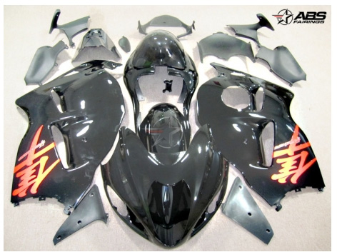 ABS Fairings Black & Red 19pc Fairing Set - Suzuki Hayabusa 1300RR 1997-2007