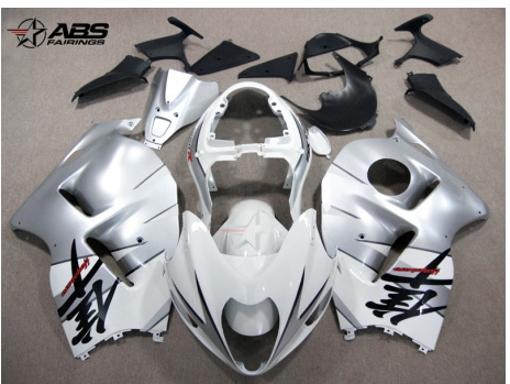 ABS Fairings Silver & White 19pc Fairing Set - Suzuki Hayabusa 1300RR 1997-2007
