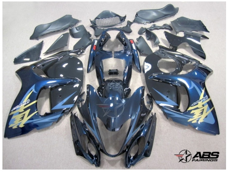 ABS-Fairings-Black & Blue 28pc Fairing Set - Suzuki Hayabusa 1300RR 2008-2009