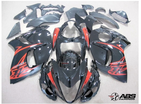 ABS Fairings Black & Red 28pc Fairing Set - Suzuki Hayabusa 1300RR 2008-2009