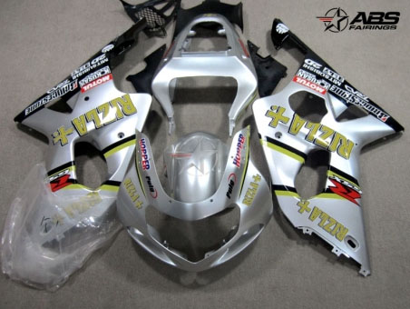 ABS Fairings Silver Rizla 9pc Fairing Set - Suzuki GSXR 600/750 2000-2003