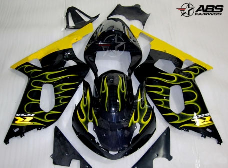 ABS Fairings Yellow Flames 9pc Fairing Set - Suzuki GSXR 600/750 2000-2003