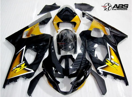 ABS Fairings Black & Gold 9pc Fairing Set - Suzuki GSXR 600/750 2000-2003