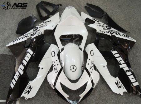 ABS Fairings Black & Pearl White Jordan 9pc Fairing Set - Suzuki GSXR 600/750 2004-2005