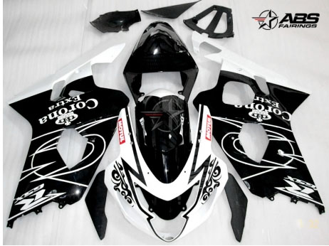 ABS Fairings Black Corona Extra 9pc Fairing Set - Suzuki GSXR 600/750 2004-2005