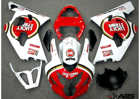 ABS Fairings Red Lucky Strike 9pc Fairing Set - Suzuki GSXR 600/750 2004-2005