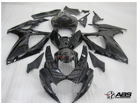 ABS Fairings All Black 24pc Fairing Set - Suzuki GSXR 600/750 2006-2007