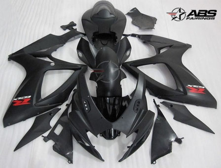 ABS Fairings Matte Black 24pc Fairing Set - Suzuki GSXR 600/750 2006-2007