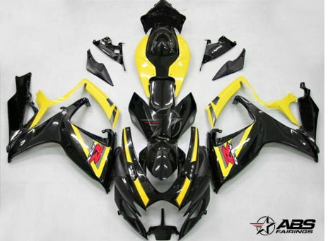 ABS Fairings OEM Style Black & Yellow 24pc Fairing Set - Suzuki GSXR 600/750 2006-2007